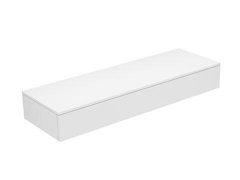 Keuco Edition 400 Sideboard wandhängend 1 Frontauszug 1400 x 199 x 450 mm weiß hochglanz/Glas titan klar 31760960001
