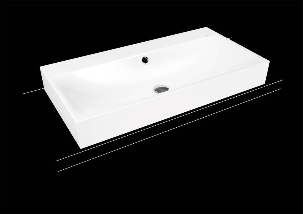 Kaldewei Silenio Aufsatzwaschtisch 3043 B:90xT:46cm mit Überlauf mit 1 Hahnloch weiß mit Perl-Effekt 904206013001