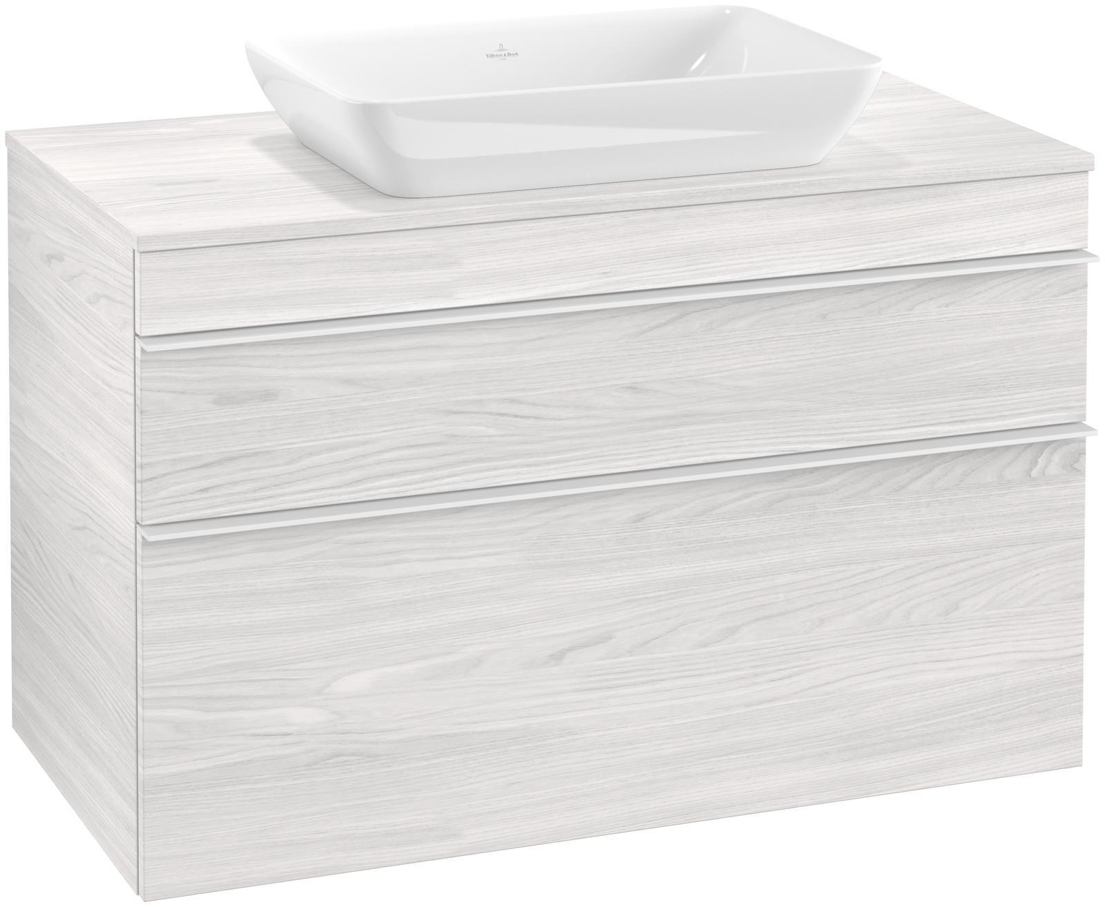 Villeroy & Boch Venticello Waschtischunterschrank für Waschtisch mittig 2 Auszüge B:95,7xH:60,6xT:50,2cm white wood Griffe white Griffe weiß A94102E8
