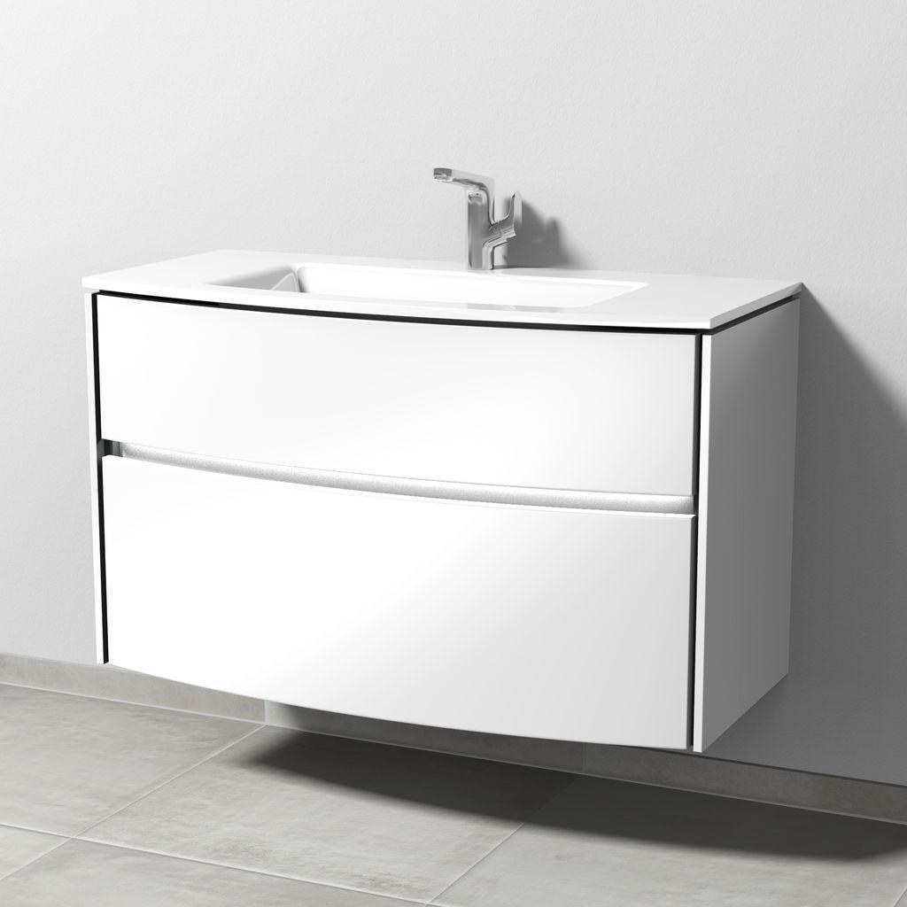 Sanipa Twiga Waschtischunterbau mit Auszügen und LED (SY234) H:60,5xB:101,5xL:45,9cm Macchiato-Matt SY23468