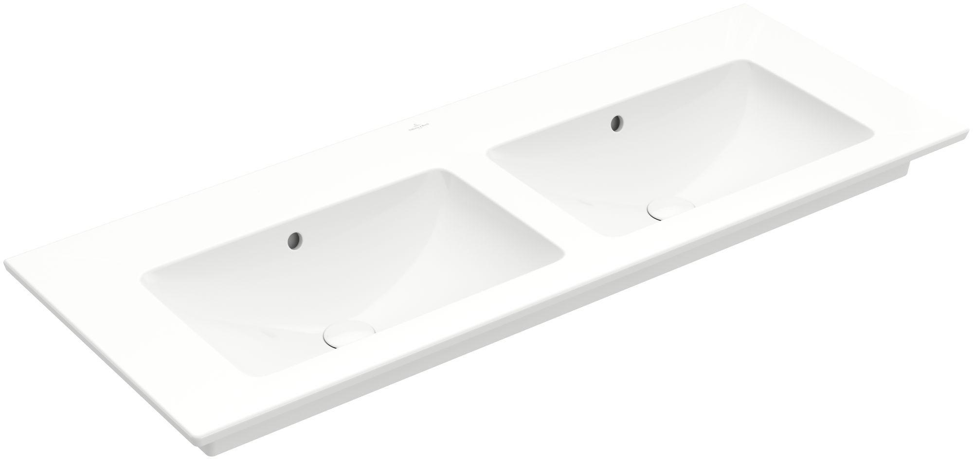 Villeroy & Boch Venticello Möbel-Doppelwaschtisch B:130xT:50cm ohne Hahnloch mit Überlauf weiß mit Ceramicplus 4111DJR1