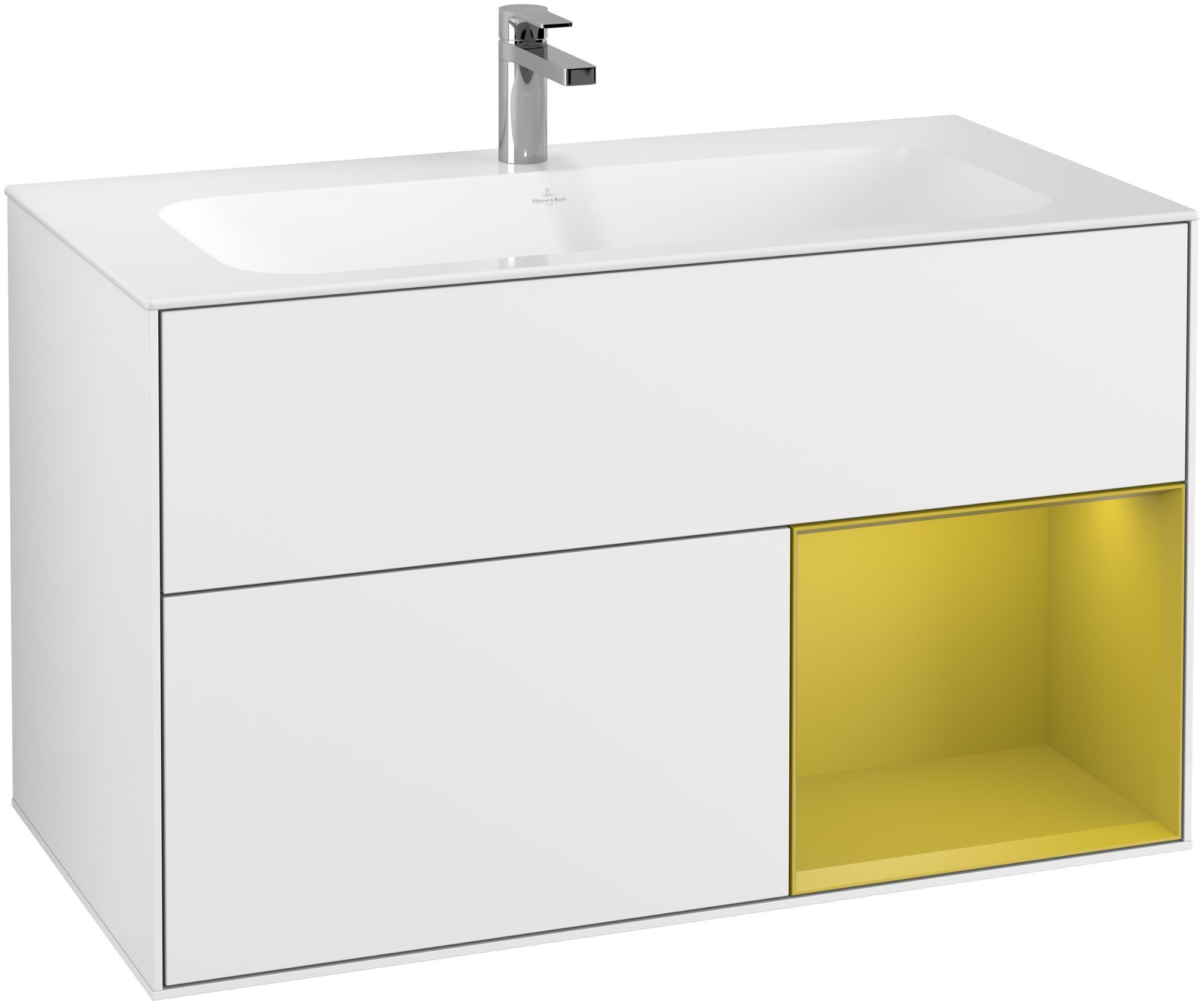 Villeroy & Boch Finion G04 Waschtischunterschrank mit Regalelement 2 Auszüge LED-Beleuchtung B:99,6xH:59,1xT:49,8cm Front, Korpus: Glossy White Lack, Regal: Sun G040HEGF