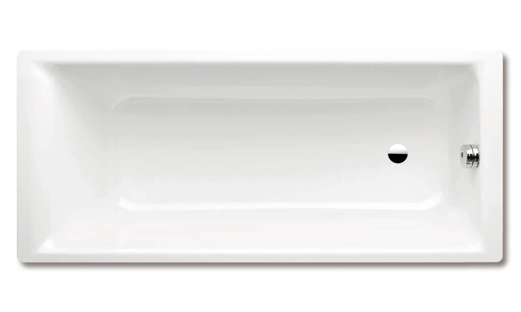 Kaldewei Ambiente Puro 697 Rechteck-Badewanne L:190xB:90xT:42cm mit seitlichem Überlauf weiß Perl-Effekt 259723003001