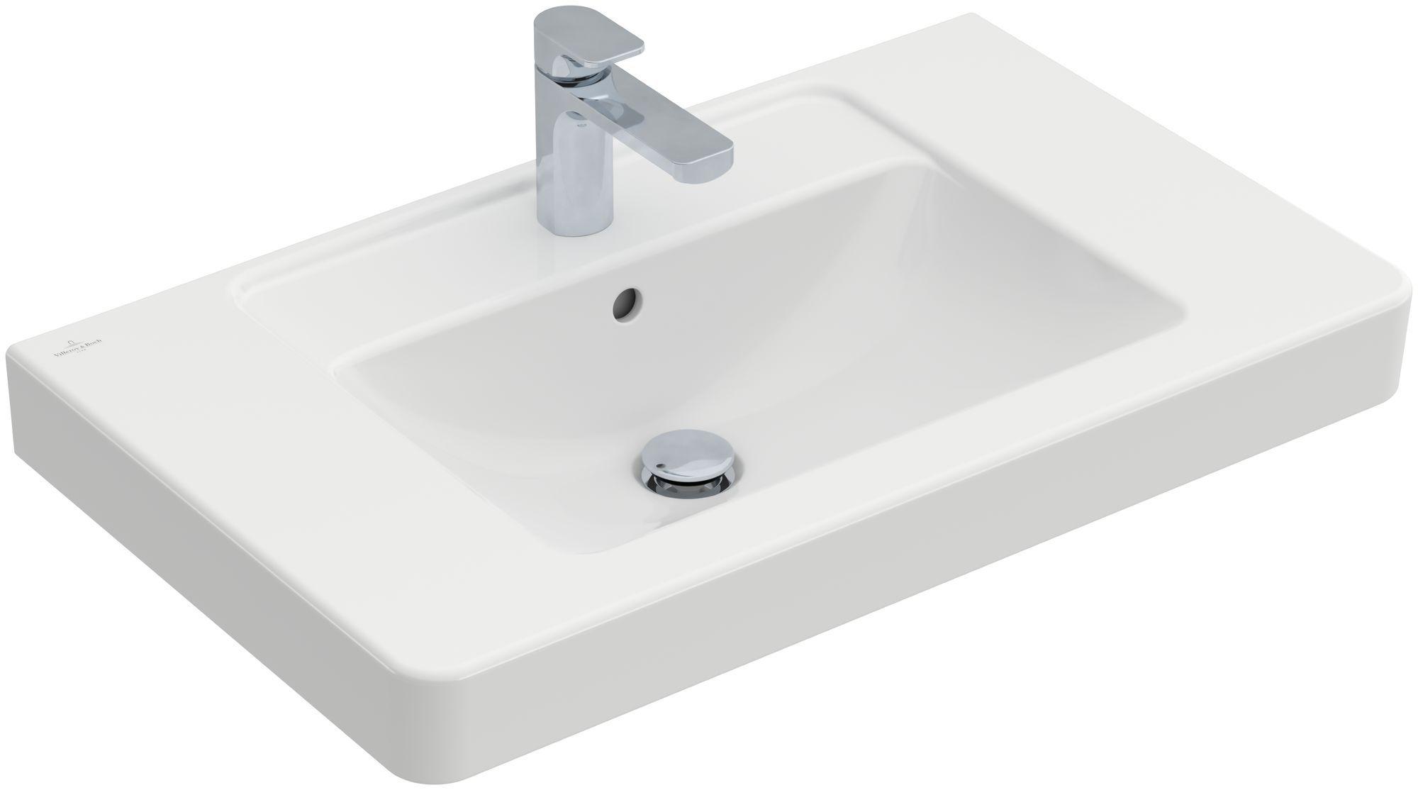 Villeroy & Boch Architectura Möbelwaschtisch B:80xT:48,5cm 1 Hahnloch mit Überlauf weiß mit Ceramicplus 611680R1