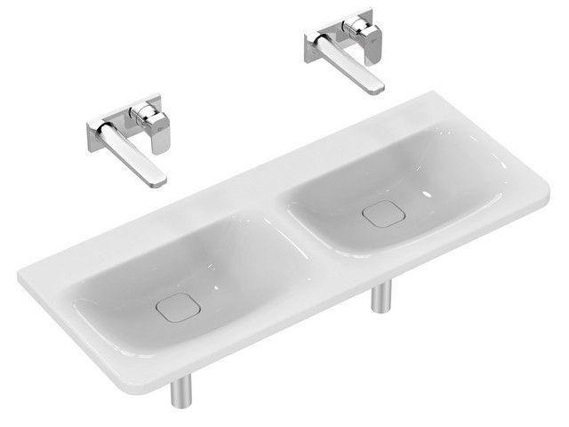 Ideal Standard Tonic II Möbel-Doppelwaschtisch B:121,5xT:49xH:17cm ohne Hahnloch ohne Überlauf Überlaufsystem Ideal Flow weiß K087401