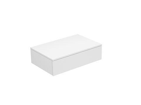 Keuco Edition 400 Sideboard wandhängend 1 Frontauszug 700 x 199 x 450 mm weiß hochglanz/Glas anthrazit klar 31740800001
