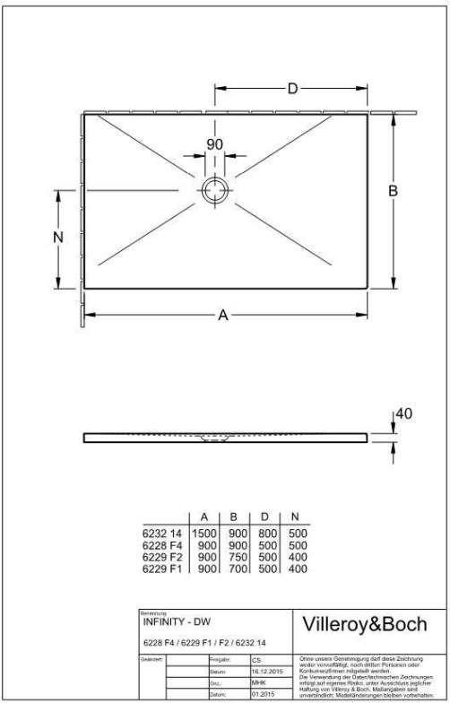Villeroy & Boch Subway Infinity Duschwanne L:150xB:90xH:4 cm für Eck-Einbau links weiß mit Antirutsch 62321402