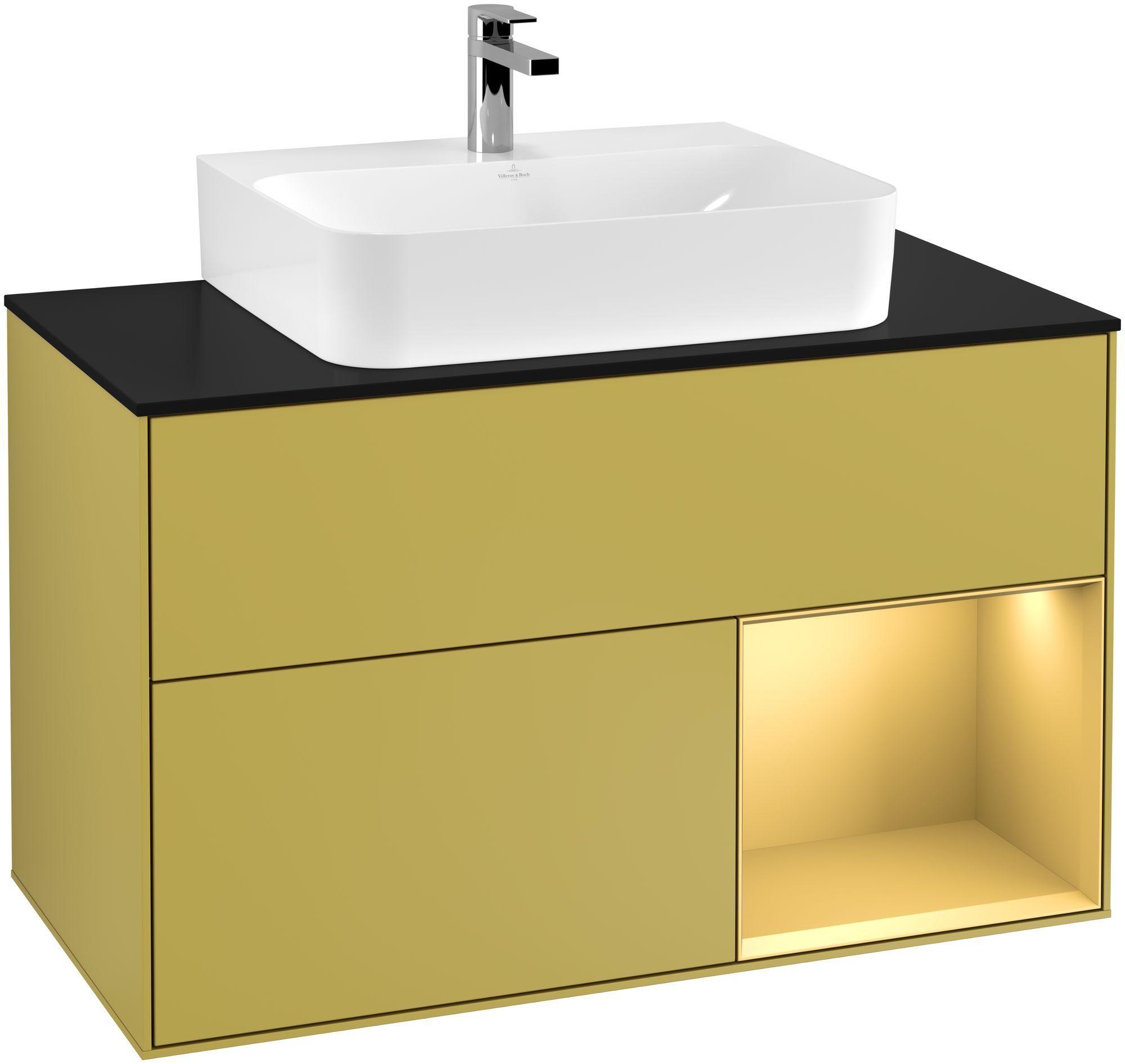 Villeroy & Boch Finion G12 Waschtischunterschrank mit Regalelement 2 Auszüge für WT mittig LED-Beleuchtung B:100xH:60,3xT:50,1cm Front, Korpus: Sun, Regal: Gold Matt, Glasplatte: Black Matt G122HFHE