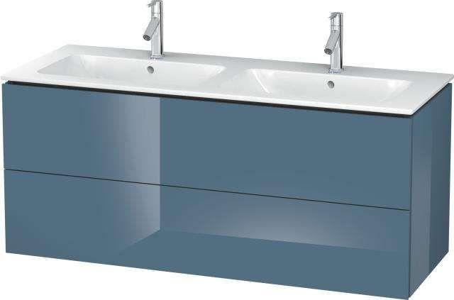 Duravit L-Cube Waschtischunterschrank wandhängend B:129xH:55xT:48,1 cm mit 2 Schubkästen stone blue hochglanz LC625804747