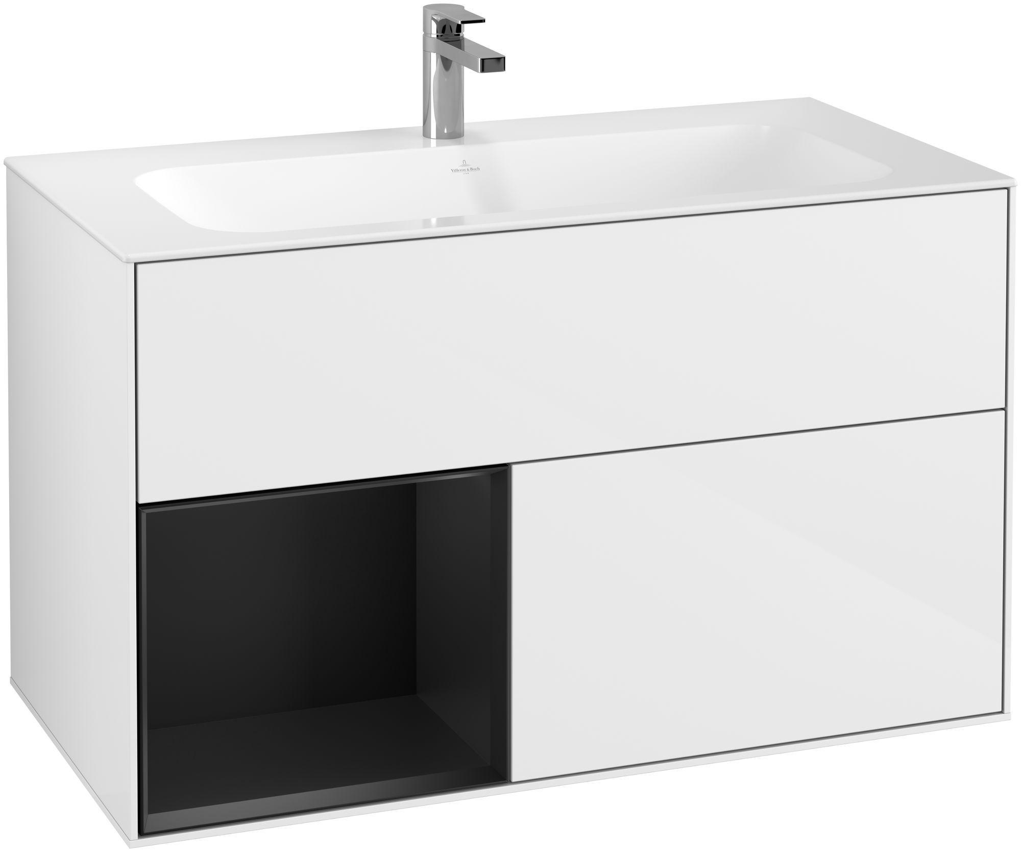 Villeroy & Boch Finion G03 Waschtischunterschrank mit Regalelement 2 Auszüge LED-Beleuchtung B:99,6xH:59,1xT:49,8cm Front, Korpus: Glossy White Lack, Regal: Black Matt Lacquer G030PDGF