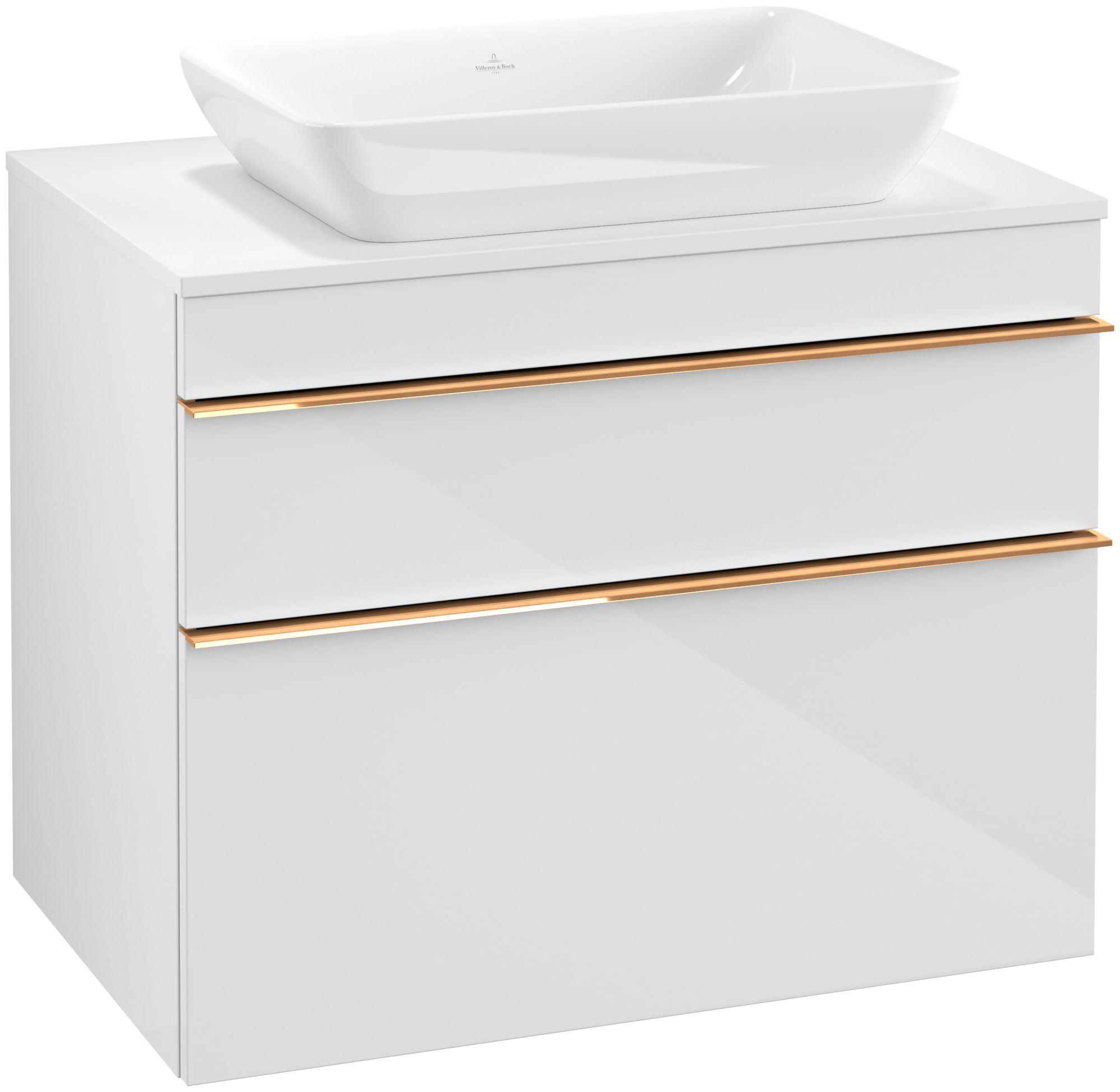 Villeroy & Boch Venticello Waschtischunterschrank für Waschtisch mittig 2 Auszüge B:75,7xH:60,6xT:50,2cm glossy white Griffe copper A94005DH