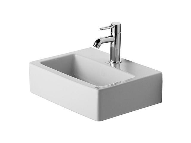 Duravit Vero Handwaschbecken B:45xT:35cm 1 Hahnloch mittig ohne Überlauf weiß 0704450041