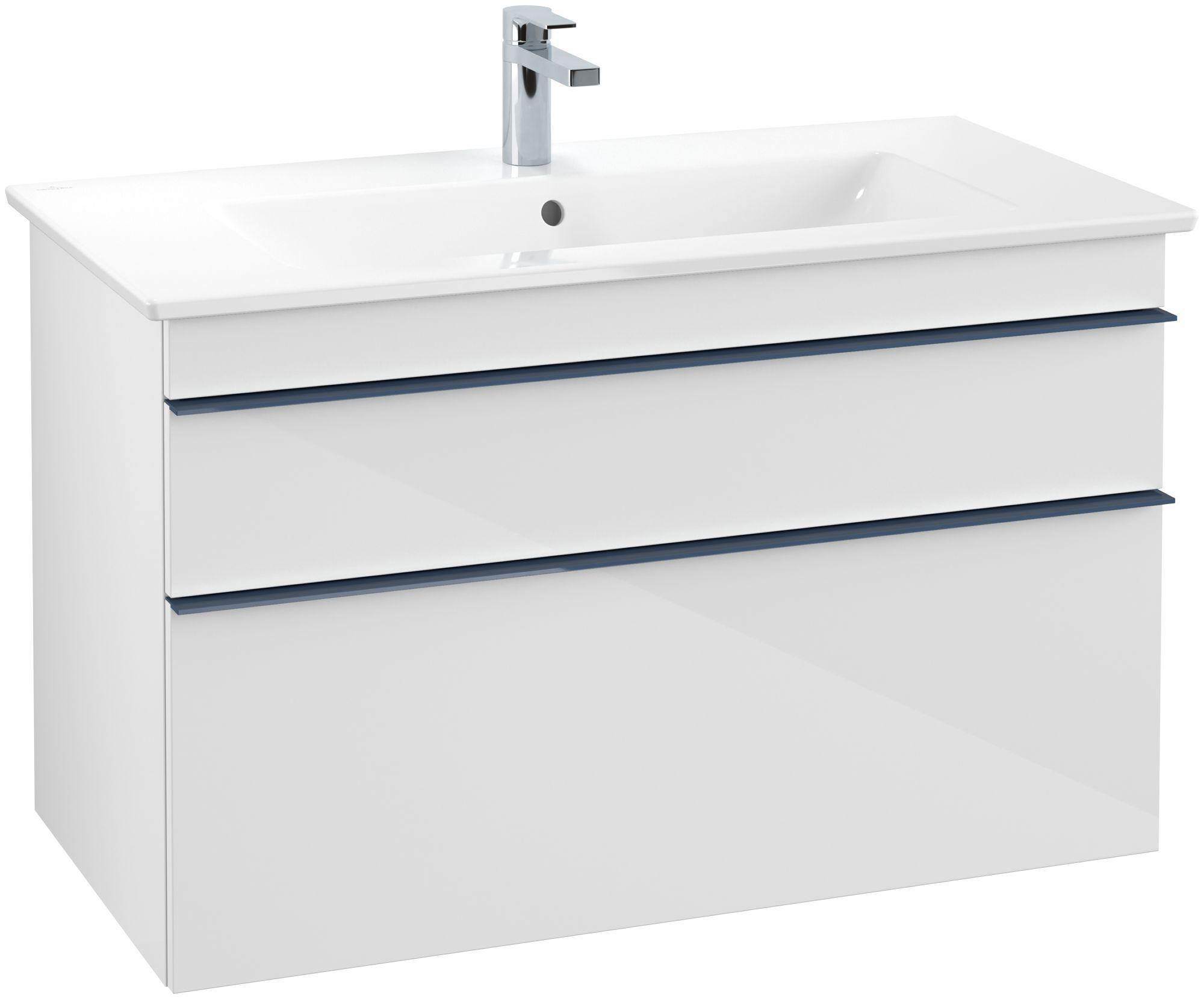 Villeroy & Boch Venticello Waschtischunterschrank 2 Auszüge B:953xT:502xH:590mm glossy weiß Griffe blau A92604DH