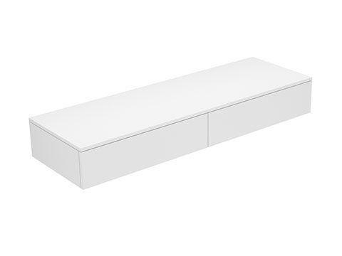 Keuco Edition 400 Sideboard wandhängend 2 Frontauszüge 1400 x 199 x 450 mm weiß/Glas trüffel klar 31764720001