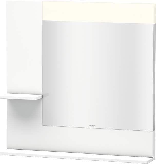Duravit Vero Spiegel mit LED-Beleuchtung B:80xH:80xT:14,2cm mit Ablagen links und unten weiß matt VE731101818