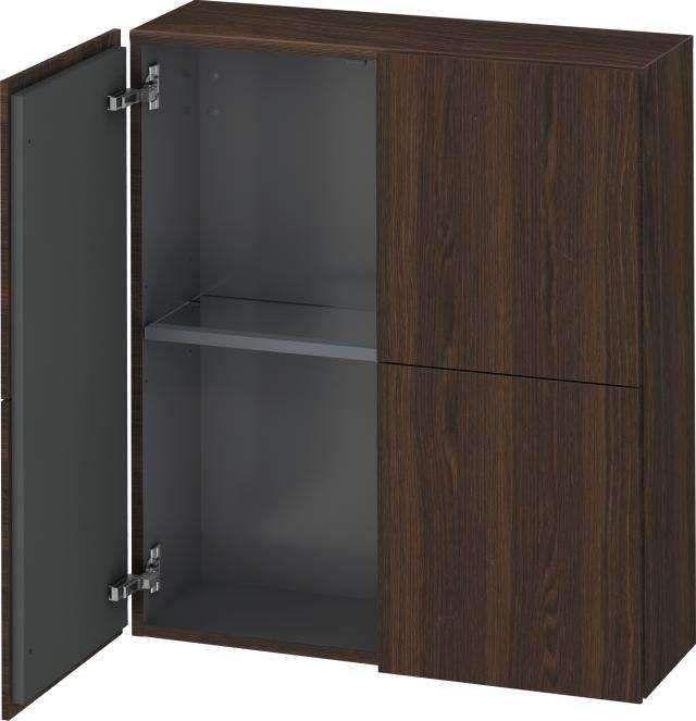Duravit L-Cube Halbhochschrank B:70xH:80xT:24,3cm 2 Türen Nussbaum gebürstet LC116706969