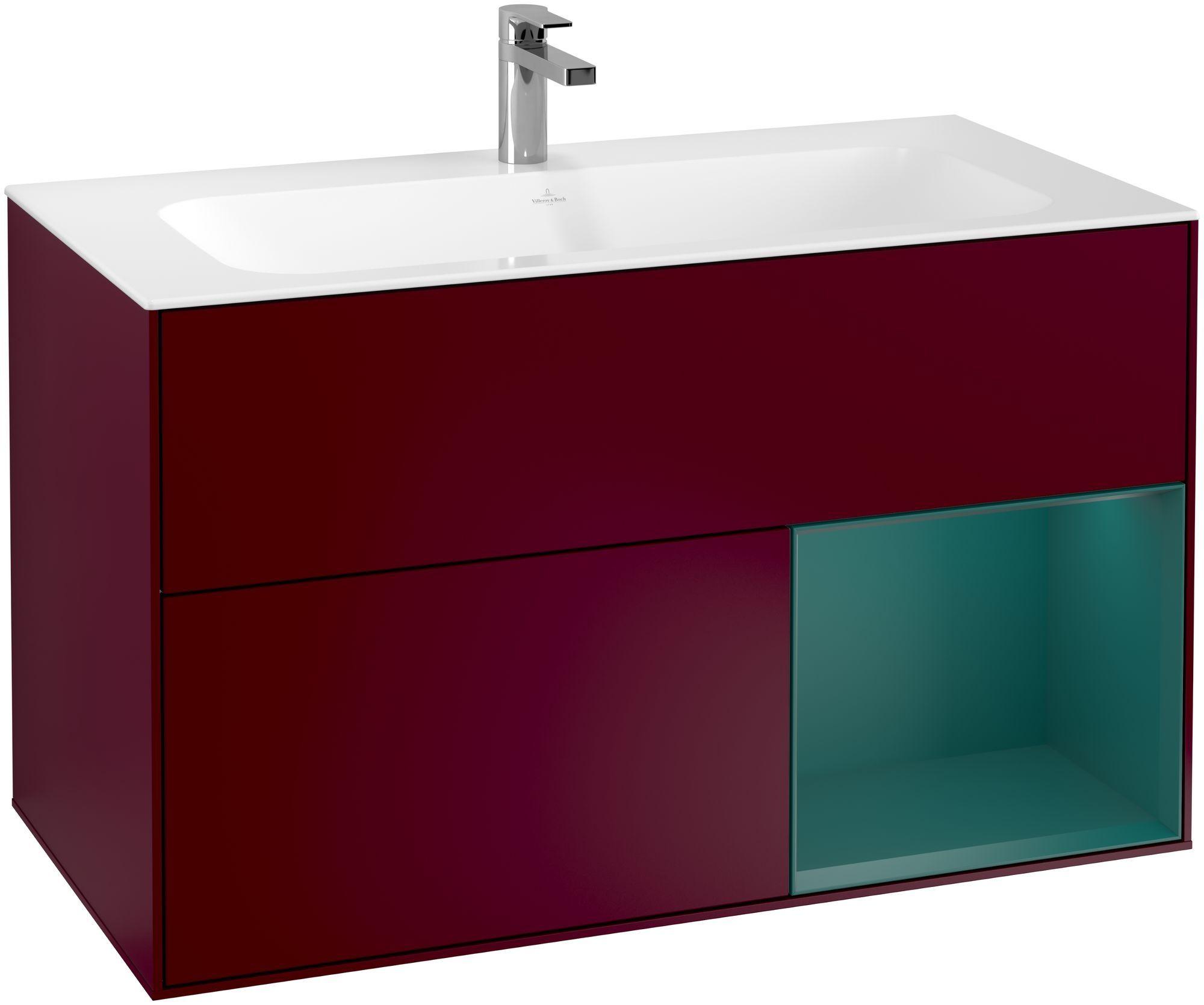 Villeroy & Boch Finion F04 Waschtischunterschrank mit Regalelement 2 Auszüge LED-Beleuchtung B:99,6xH:59,1xT:49,8cm Front, Korpus: Peony, Regal: Cedar F040GSHB