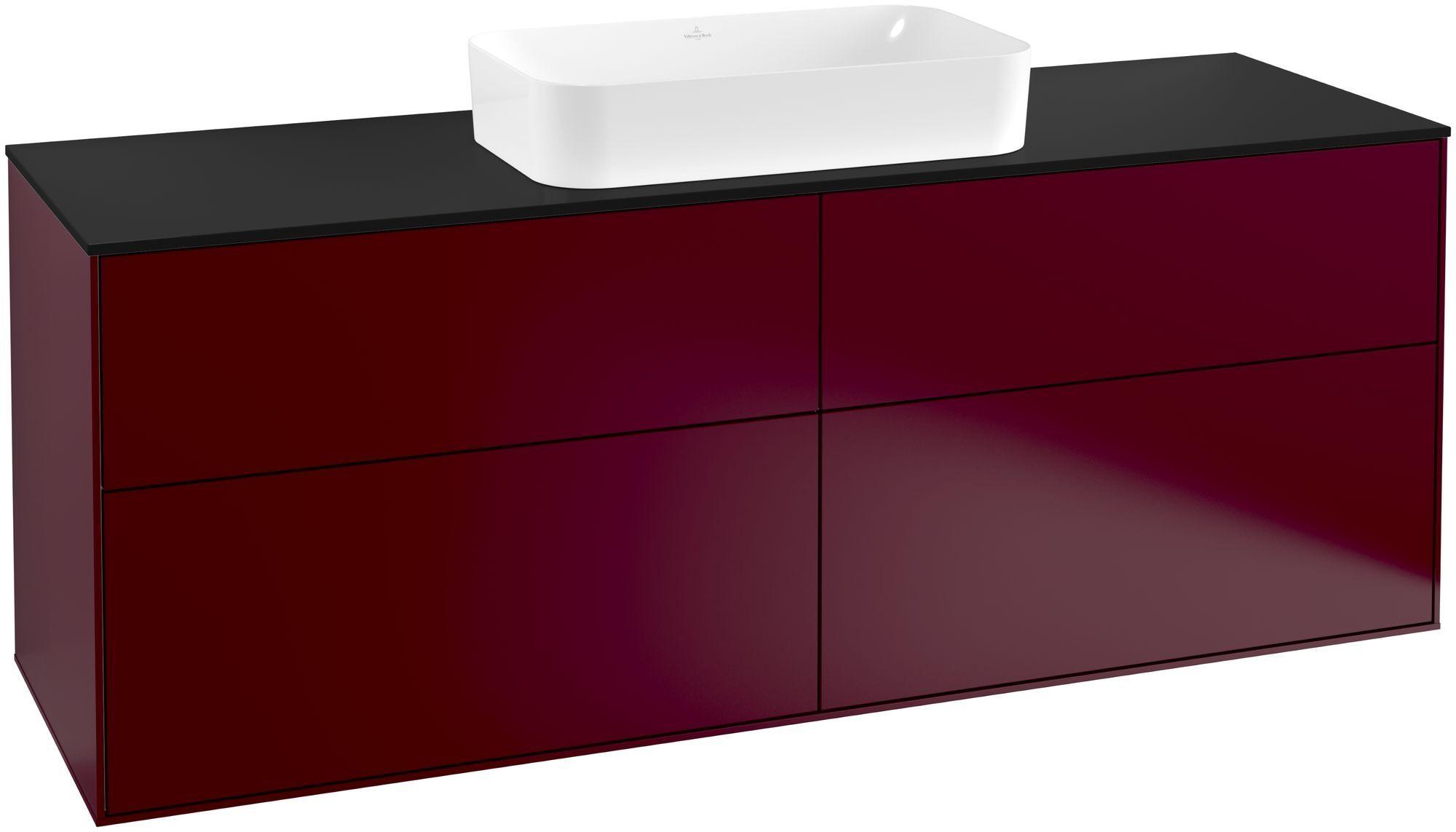 Villeroy & Boch Finion F32 Waschtischunterschrank 4 Auszüge Waschtisch mittig B:160xH:60,3xT:50,1cm Front, Korpus: Peony, Glasplatte: Black Matt F32200HB