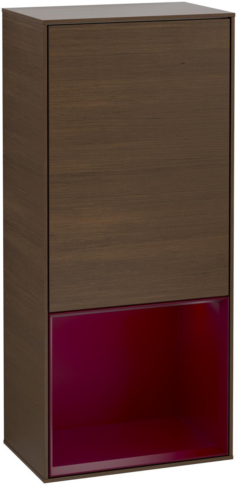 Villeroy & Boch Finion G55 Seitenschrank mit Regalelement 1 Tür Anschlag rechts LED-Beleuchtung B:41,8xH:93,6xT:27cm Front, Korpus: Walnut Veneer, Regal: Peony G550HBGN