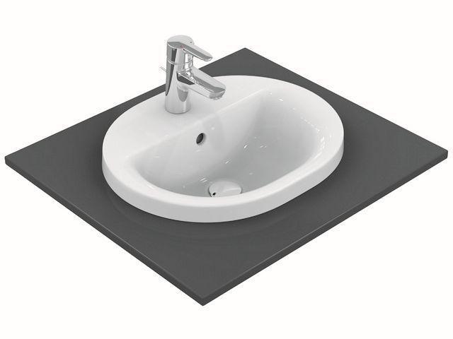 Ideal Standard Connect Einbauwaschtisch oval B:48xT:40cm 1 Hahnloch mittig mit Überlauf weiß E503801