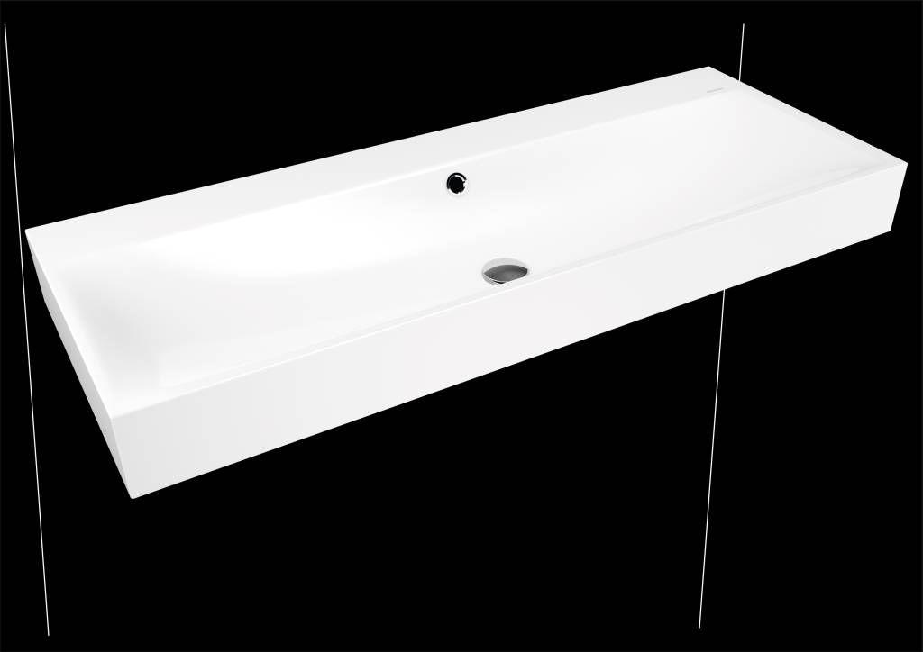 Kaldewei Silenio Wandwaschtisch 3046 B:120xT:46cm mit Überlauf mit 2x3 Hahnlochbohrung weiß mit Perl-Effekt 904506053001
