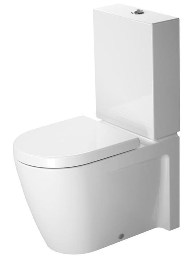 Duravit Starck 2 Tiefspül-Stand-WC für Aufsatzspülkasten L:63xB:37cm weiß mit Wondergliss 21450900001