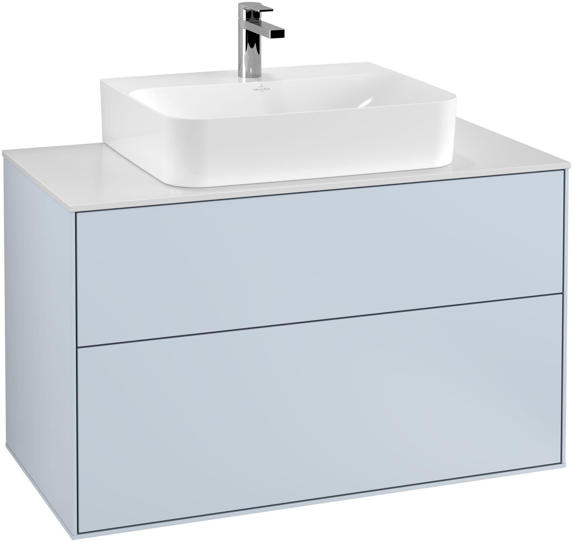 Villeroy & Boch Finion G10 Waschtischunterschrank 2 Auszüge Waschtisch mittig LED-Beleuchtung B:100xH:60,3xT:50,1cm Front, Korpus: Cloud, Glasplatte: White Matt G10100HA