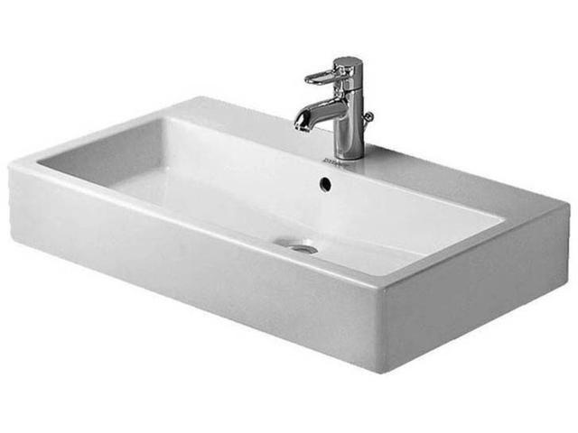 Duravit Vero Waschtisch B:80xT:47cm 1 Hahnloch mittig mit Überlauf weiß 0454800000