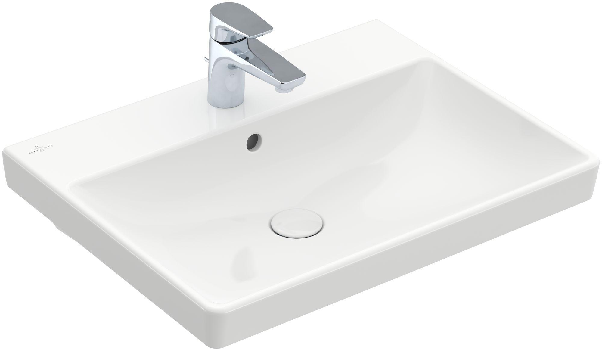 Villeroy & Boch Avento Waschtisch B:60xT:47cm 1 Hahnloch mit Überlauf weiß mit CeramicPlus 415860R1
