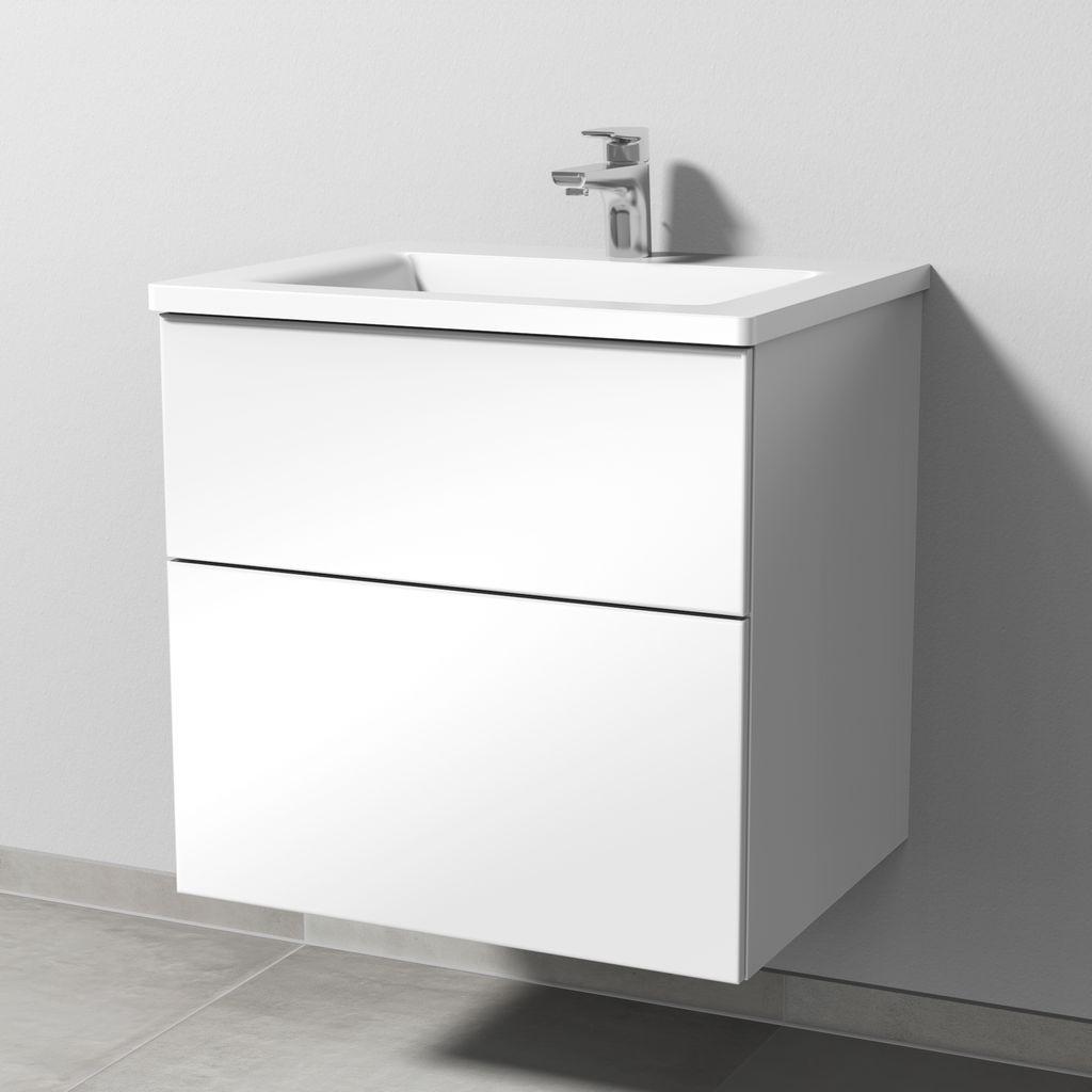 Sanipa 3way Set Mineralguss-Waschtisch (SF301) H:58,2xB:60xL:48,7cm Weiß-Glanz SF30178