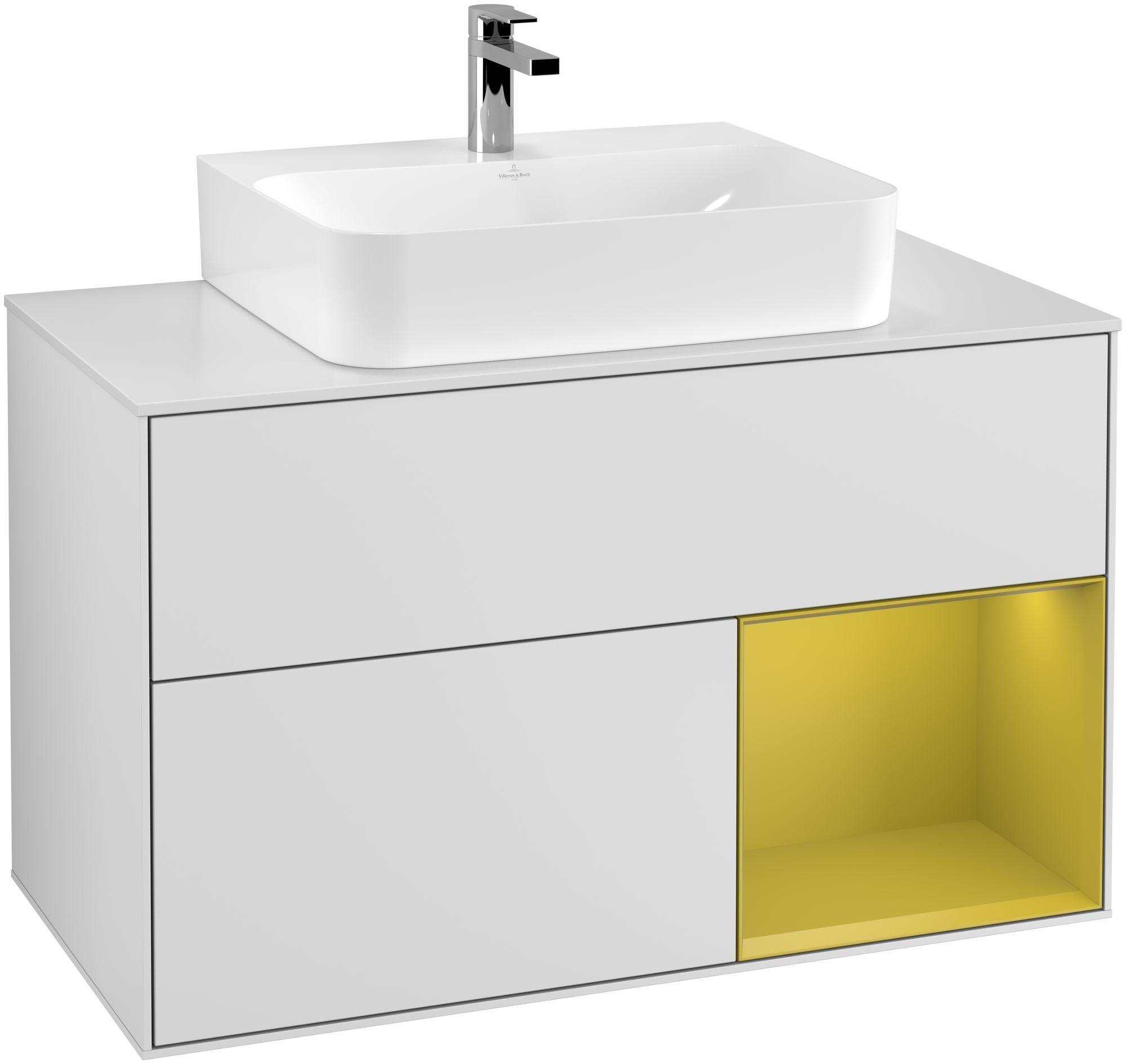 Villeroy & Boch Finion G12 Waschtischunterschrank mit Regalelement 2 Auszüge für WT mittig LED-Beleuchtung B:100xH:60,3xT:50,1cm Front, Korpus: Weiß Matt Soft Grey, Regal: Sun, Glasplatte: White Matt G121HEMT