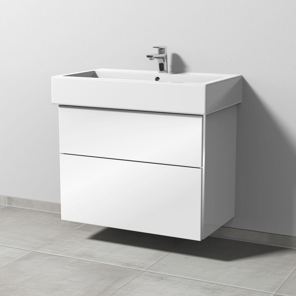 Sanipa 3way Waschtischunterschrank für Duravit Vero 45480 2 Auszüge L:59,3xB:75xT:44,7cm Weiß-Soft BR71743