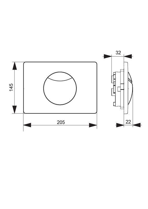 Villeroy & Boch ViConnect Betätigungsplatte B:20,5xH:14,5xT:2,2cm chrom matt 92248569