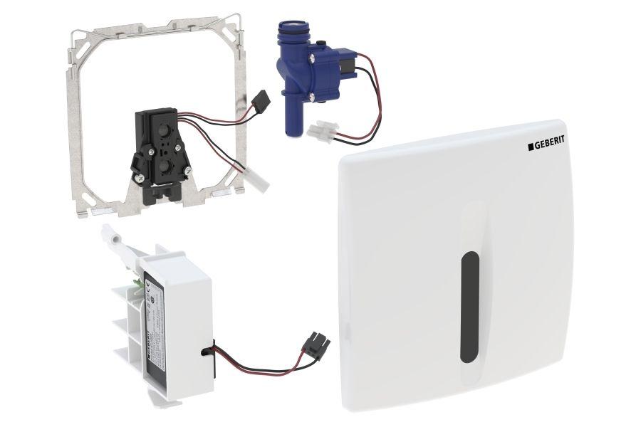 Geberit Urinal-Steuerung mit elektronischer Spülauslösung Netzbetrieb Abdeckplatte Kunststoff weiß-alpin 115817115