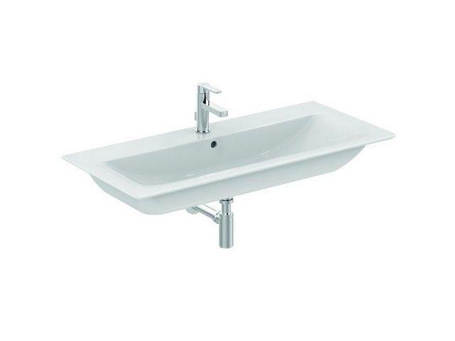 Ideal Standard Connect Air Möbelwaschtisch B:104xH:16,5xT:46 cm 1 Hahnloch mittig mit Überlauf Feinfeuerton weiß mit Ideal Plus E0274MA