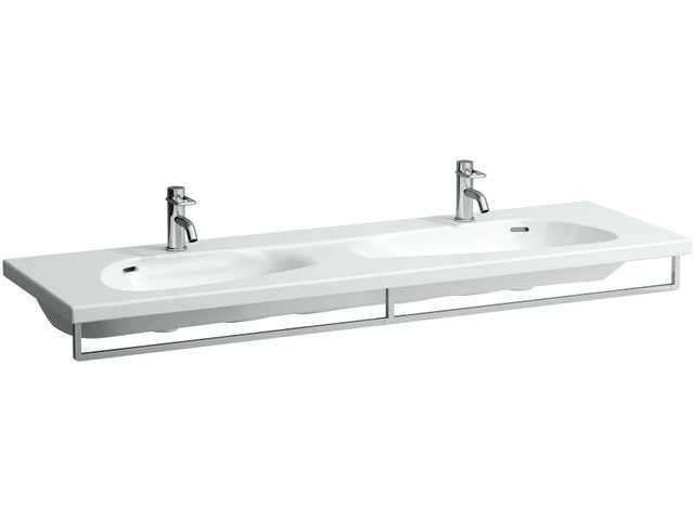 Laufen Palomba Doppelwaschtisch B:160xT:50cm 1 Hahnloch mittig mit Überlauf unterbaufähig weiß mit CleanCoat LCC H8148094001041