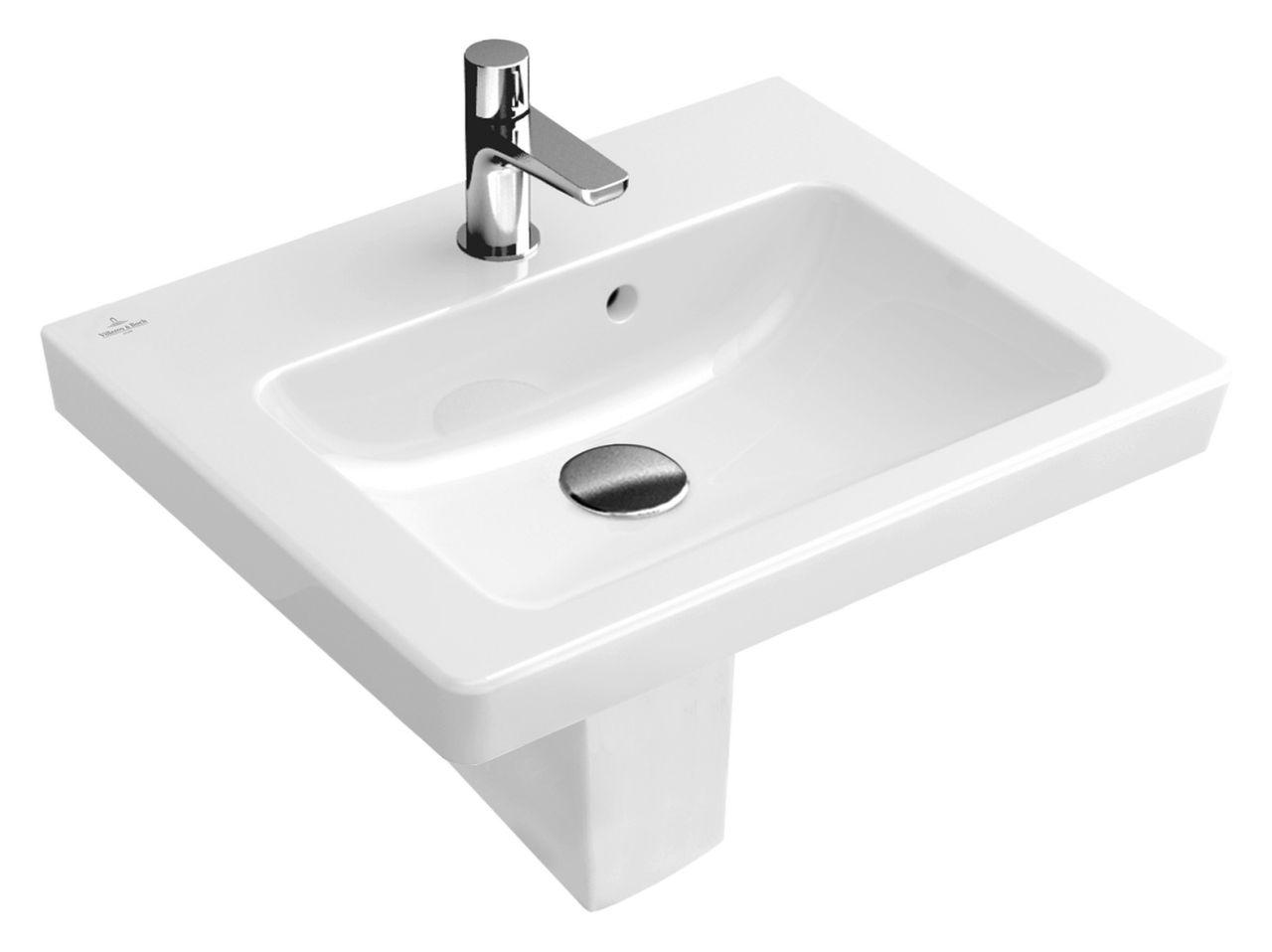 Villeroy & Boch Subway 2.0 Handwaschbecken B:45xT:37cm 1 Hahnloch mit Überlauf weiß mit Ceramicplus 731545R1