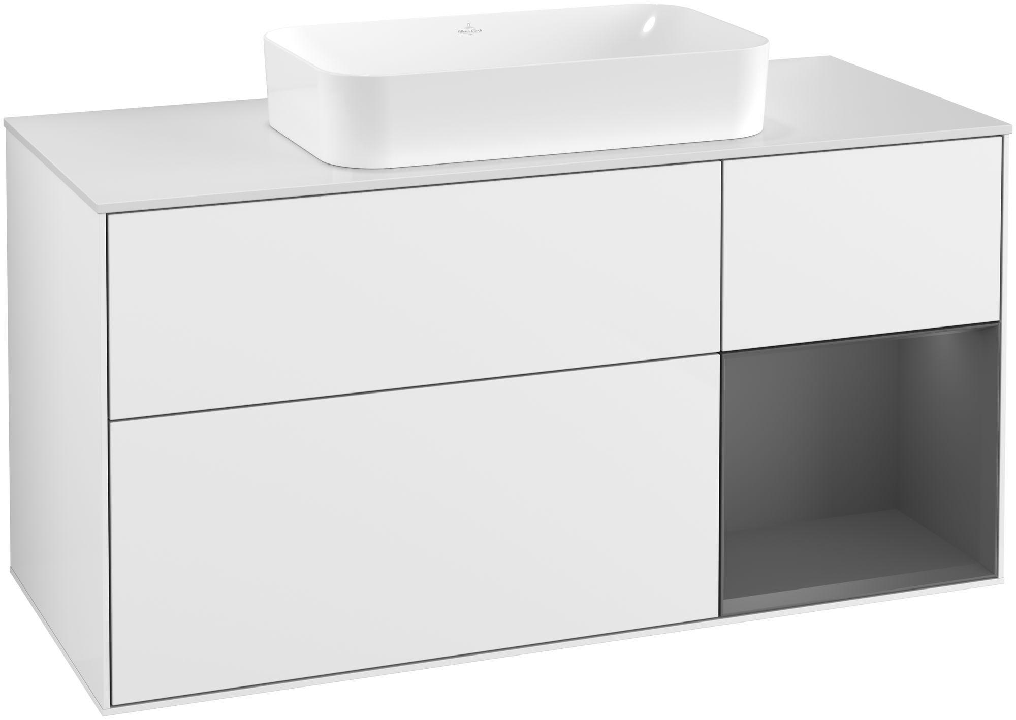 Villeroy & Boch Finion G30 Waschtischunterschrank mit Regalelement 3 Auszüge für WT mittig LED-Beleuchtung B:120xH:60,3xT:50,1cm Front, Korpus: Glossy White Lack, Regal: Anthracite Matt, Glasplatte: White Matt G301GKGF