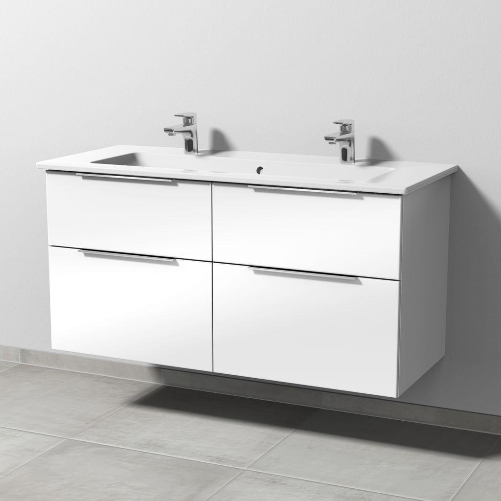 Sanipa 3way Set Keramik-Waschtisch (UM329) H:59,1xB:115,5xT:47,7cm Weiß-Soft UM32943