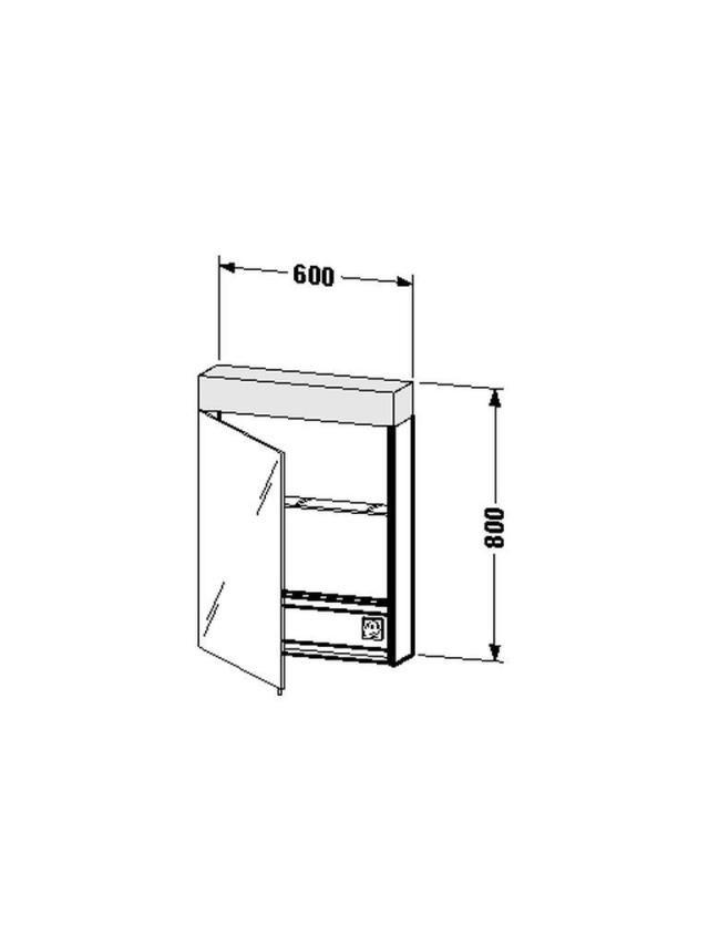 Duravit Vero Spiegelschrank mit Beleuchtung B:60xH:14,2xT:80cm 1 Spiegeltür Türanschlag rechts verspiegelt VE7500R0000