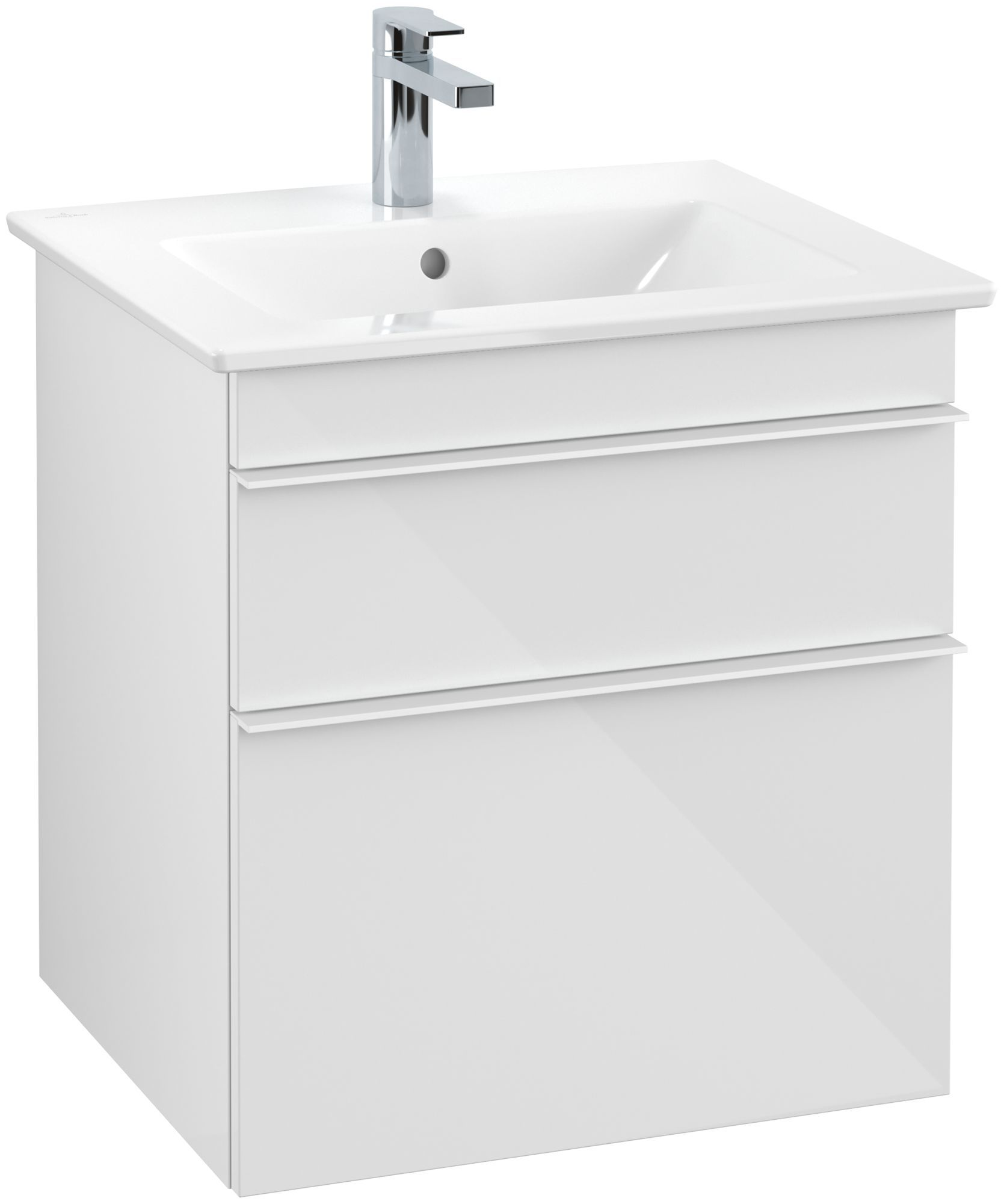 Villeroy & Boch Venticello Waschtischunterschrank 2 Auszüge B:553xT:502xH:590mm glossy weiß Griffe weiß A92302DH
