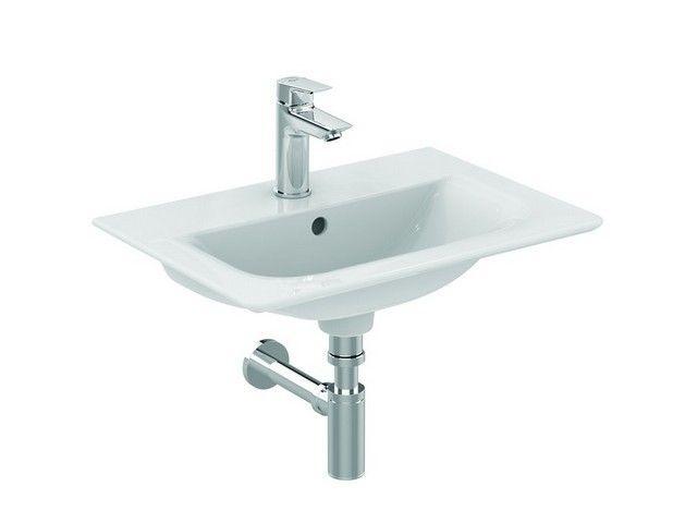 Ideal Standard Connect Air Möbelwaschtisch B:54xH:15,5xT:38 cm 1 Hahnloch mittig mit Überlauf Feinfeuerton weiß mit Ideal Plus E0296MA