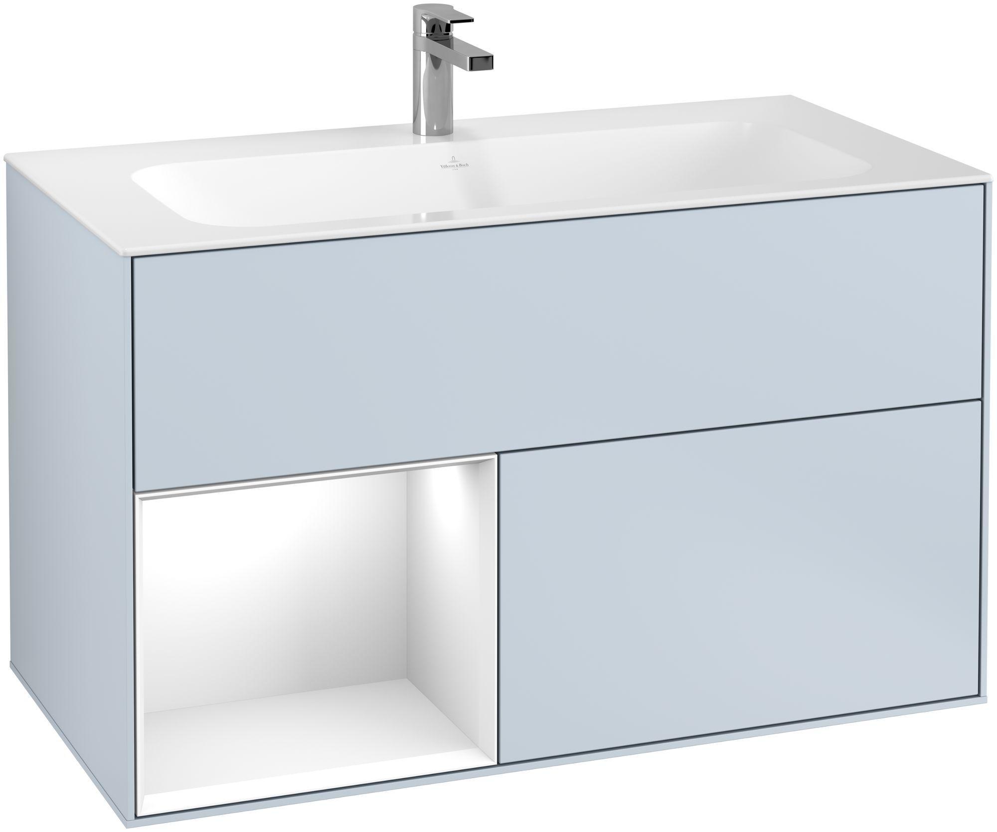 Villeroy & Boch Finion F03 Waschtischunterschrank mit Regalelement 2 Auszüge LED-Beleuchtung B:99,6xH:59,1xT:49,8cm Front, Korpus: Cloud, Regal: Glossy White Lack F030GFHA