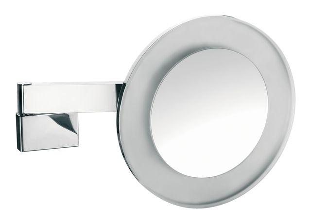 Emco LED Rasier- & Kosmetikspiegel 2-armig Vergrößerung 5-fach mit Farbwechsel Direktanschluss rund chrom 109606008