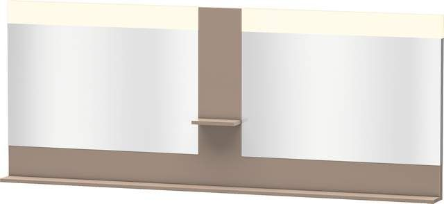 Duravit Vero Spiegel mit LED-Beleuchtung B:200xH:80xT:14,2cm mit Ablagen mittig und unten cappuccino hochglanz VE736308686
