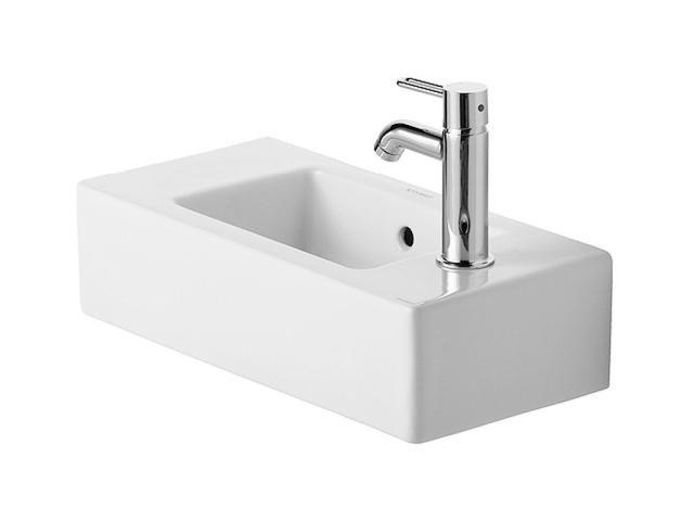 Duravit Vero Handwaschbecken B:50xT:25cm Hahnloch Vorstich links und rechts mit Überlauf weiß 0703500000