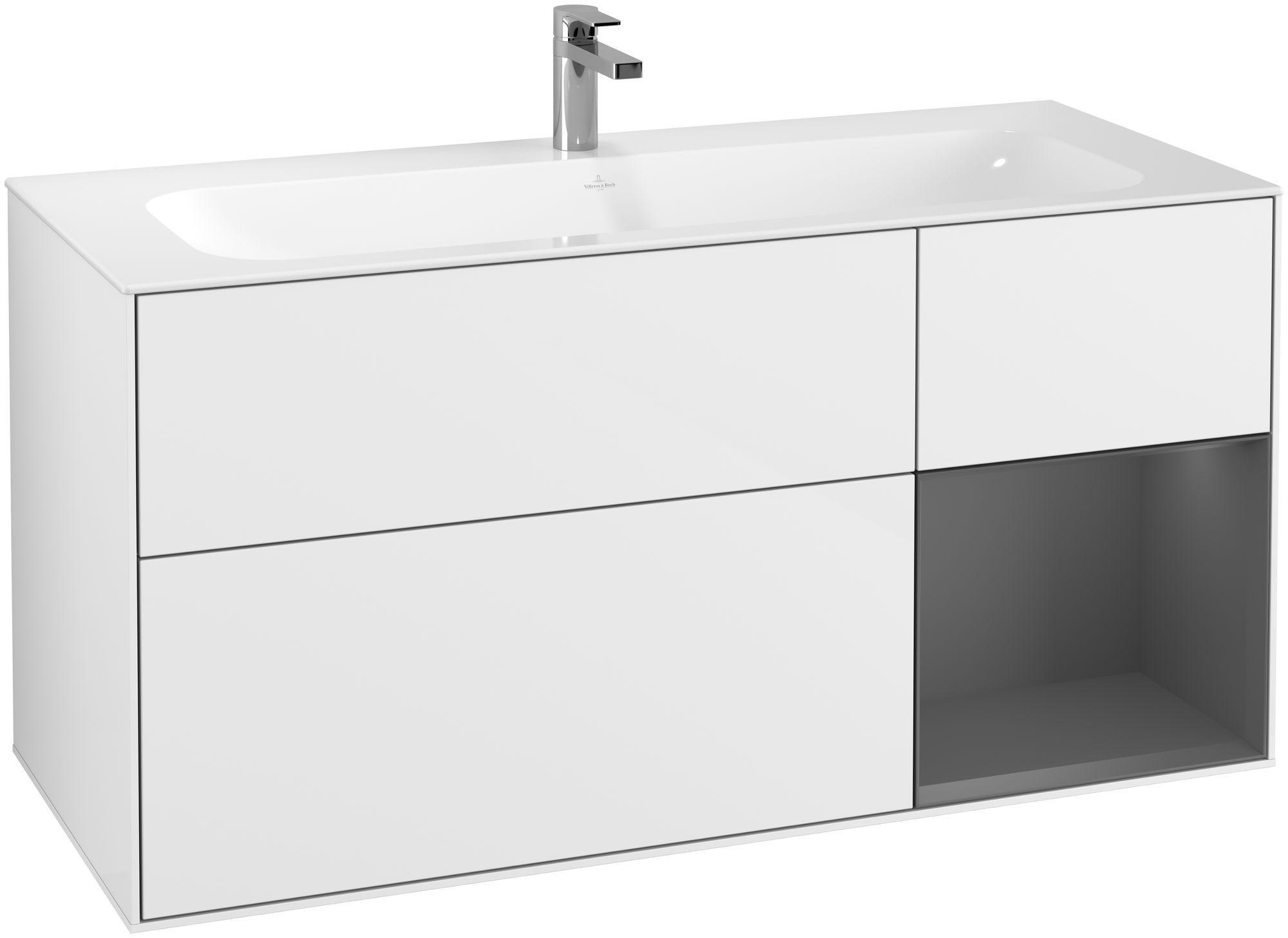 Villeroy & Boch Finion G07 Waschtischunterschrank mit Regalelement 3 Auszüge LED-Beleuchtung B:119,6xH:59,1xT:49,8cm Front, Korpus: Glossy White Lack, Regal: Anthracite Matt G070GKGF
