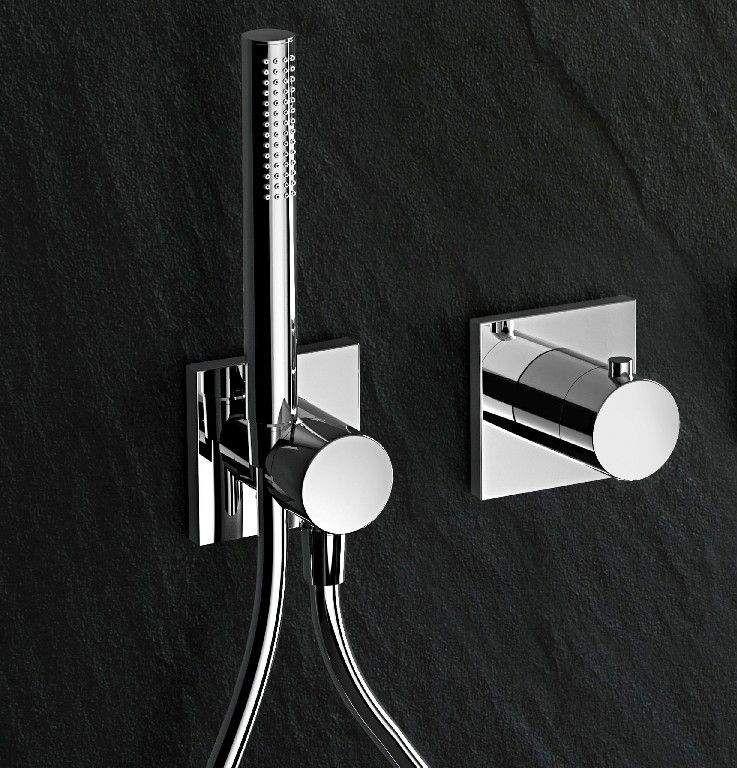 Keuco IXMO Komplett-Set Unterputz Duschsystem mit Thermostat Stabhandbrause und Kopfbrause eckige Rosette 59602010002