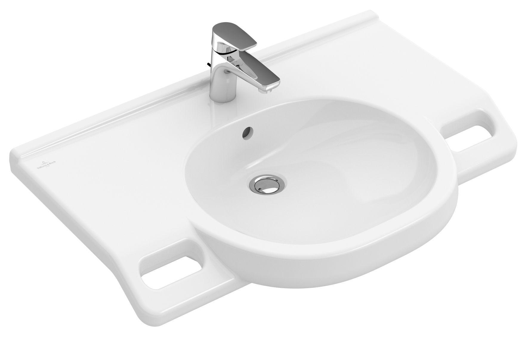 Villeroy & Boch O.novo Waschtisch oval B:81xT:56xH:18,5cm 1 Hahnloch mit Überlauf barrierefrei weiß mit AntiBac 412082T1