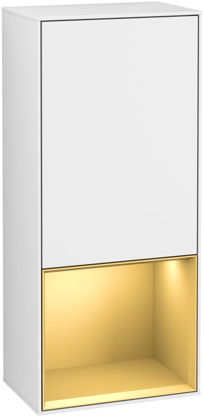 Villeroy & Boch Finion G55 Seitenschrank mit Regalelement 1 Tür Anschlag rechts LED-Beleuchtung B:41,8xH:93,6xT:27cm Front, Korpus: Glossy White Lack, Regal: Gold Matt G550HFGF